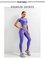 Женский костюм (комплект) для спорта, спортивная одежда для фитнеса (лосины, топ с рукавами), Фиолетовый