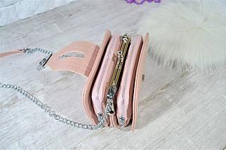 Сумочка клатч Katty на цепочке с заклепками пудра женская, фото 2