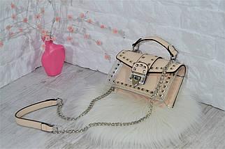 Сумочка клатч Molly силиконовая на цепочке с заклепками женская бежевая, фото 3