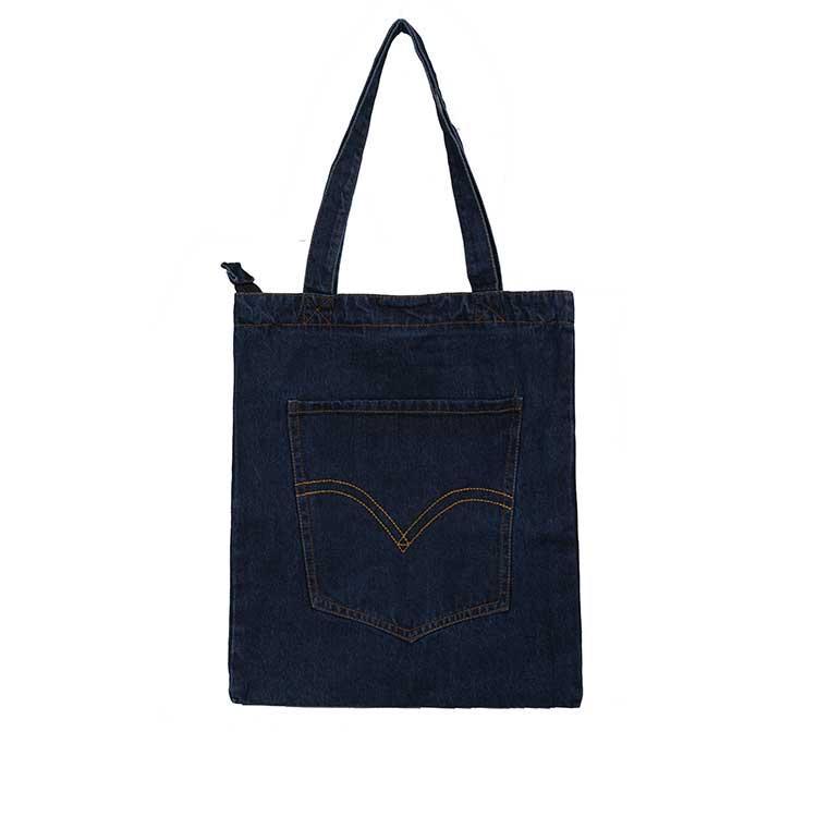 Жіноча джинсова сумка з накладною кишенею темно-синього кольору