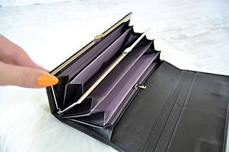 Кошелек Classic & Saralyn нубук на магнитах черный женский, фото 3