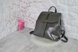 Женский рюкзак-сумка Джессика с клапаном .Темно-серый, фото 3