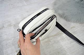 Сумка кросс-боди Forever Young на две молнии с широким текстильным ремешком белая женская, фото 2