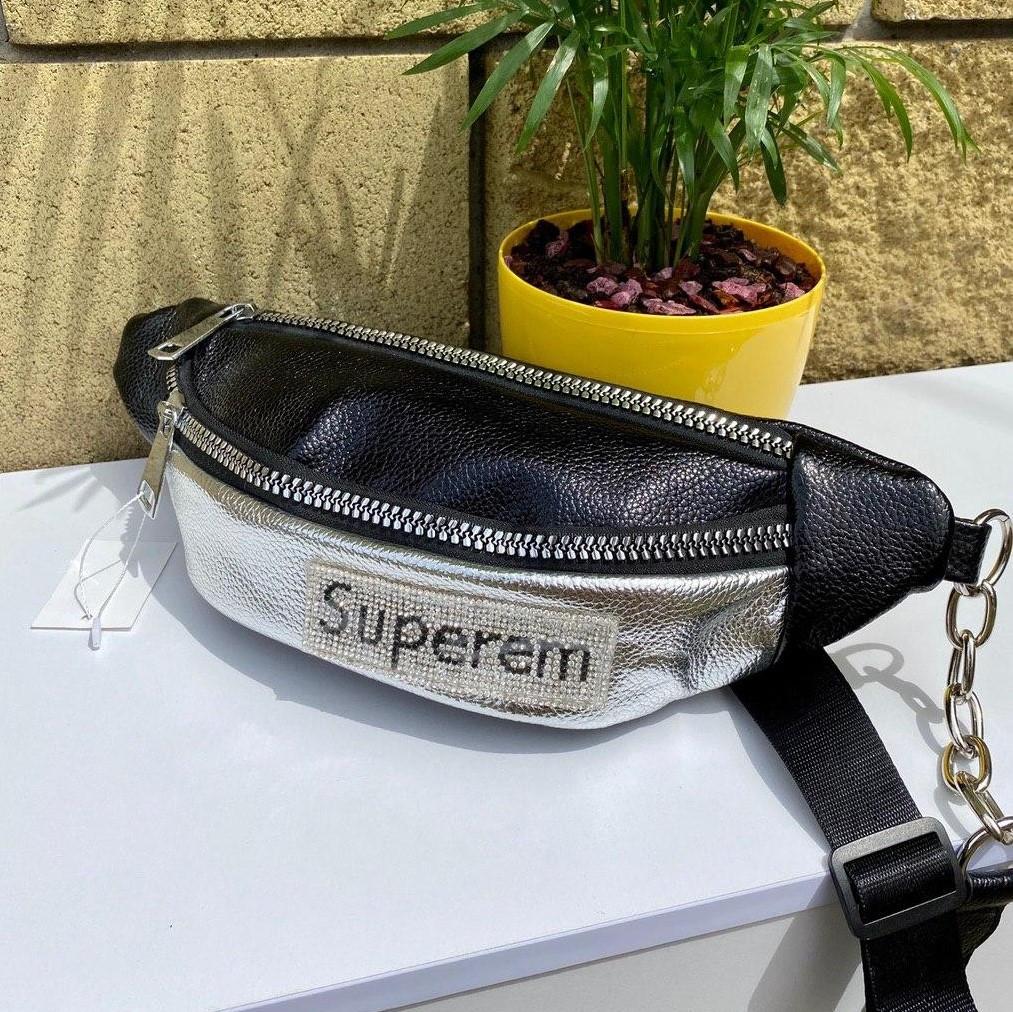 Поясна сумка (бананка) Superem з широким текстильним ремінцем чорна - срібло жіноча
