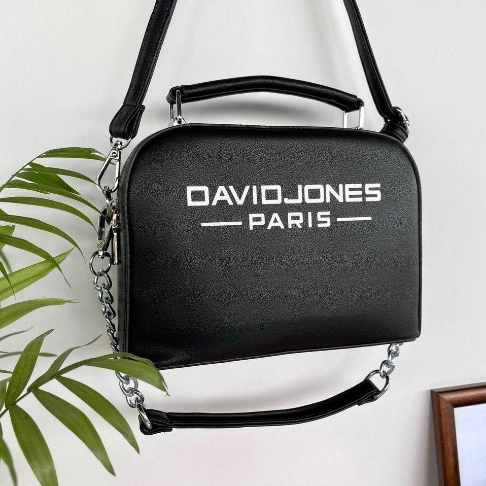 Сумка David Jones Paris с двумя ремешками черная женская