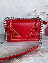 Сумочка клатч Johnny з ланцюжком червона жіноча, фото 3