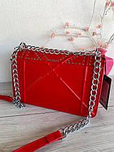 Сумочка клатч Johnny з ланцюжком червона жіноча, фото 2