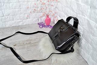 Сумка Boss из натуральной кожи классика с длинным ремешком черная женская, фото 2