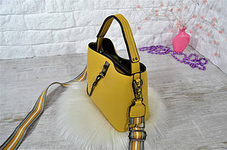 Сумка Sofiya городская с широким ремешком через плечо горчичная (желтая) женская, фото 3