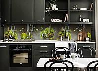 Кухонный фартук Белый Виноград (скинали для кухни наклейка ПВХ) вино бокалы лоза Зеленый 600*2500 мм