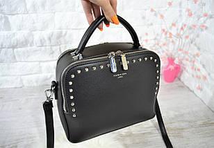 Компактная женская сумка Fashion Lusha на две молнии с заклепками .Черная, фото 2