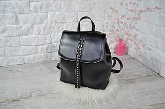 Женский рюкзак-сумка Джессика с клапаном .Черный, фото 2