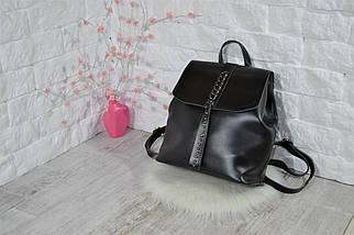 Женский рюкзак-сумка Джессика с клапаном .Черный, фото 3