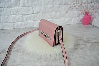 Сумочка клатч Magic на две молнии с длинным ремешком розовая женская, фото 2