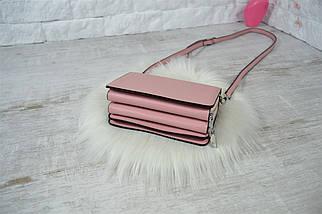 Сумочка клатч Magic на две молнии с длинным ремешком розовая женская, фото 3