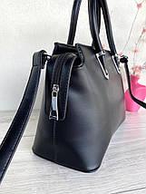 Сумка тоут Fashion Eynooer большая с длинным ремешком через плечо черная женская, фото 2