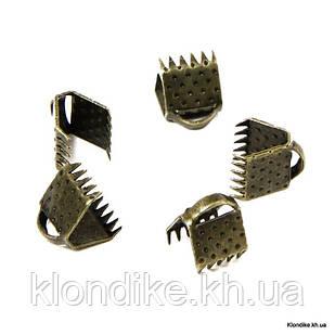 Концевики Зажимы для Лент, Железные, 6×7 мм, Цвет: Бронза (50 шт.)