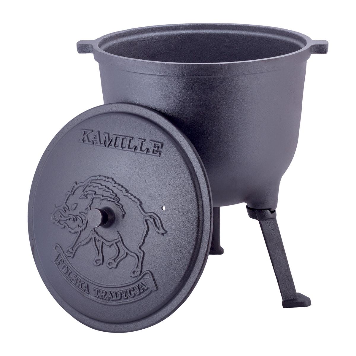 Казан чугунный 10л с крышкой Kamille на ножках для приготовления пищи на огне и плите KM-4802V