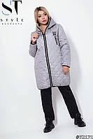 Куртка  осень плащевка  в больших  размерах Серый, 56-58