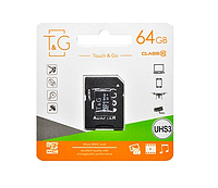 Карта пам'яті SD adapter MicroSDHC UHS-3 Class 10 T&G 64GB