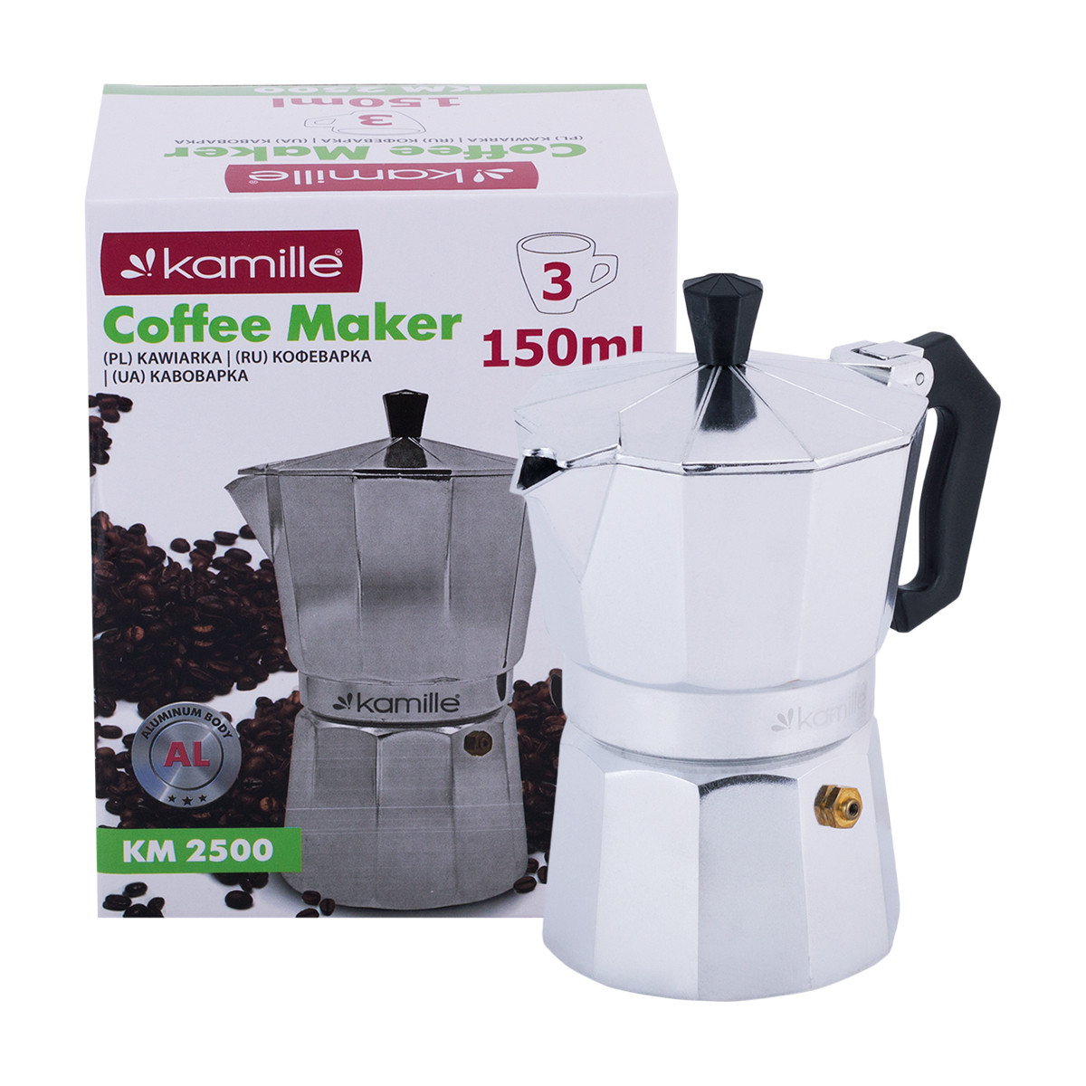 Кофеварка гейзерная Kamille 150мл из алюминия KM-2500