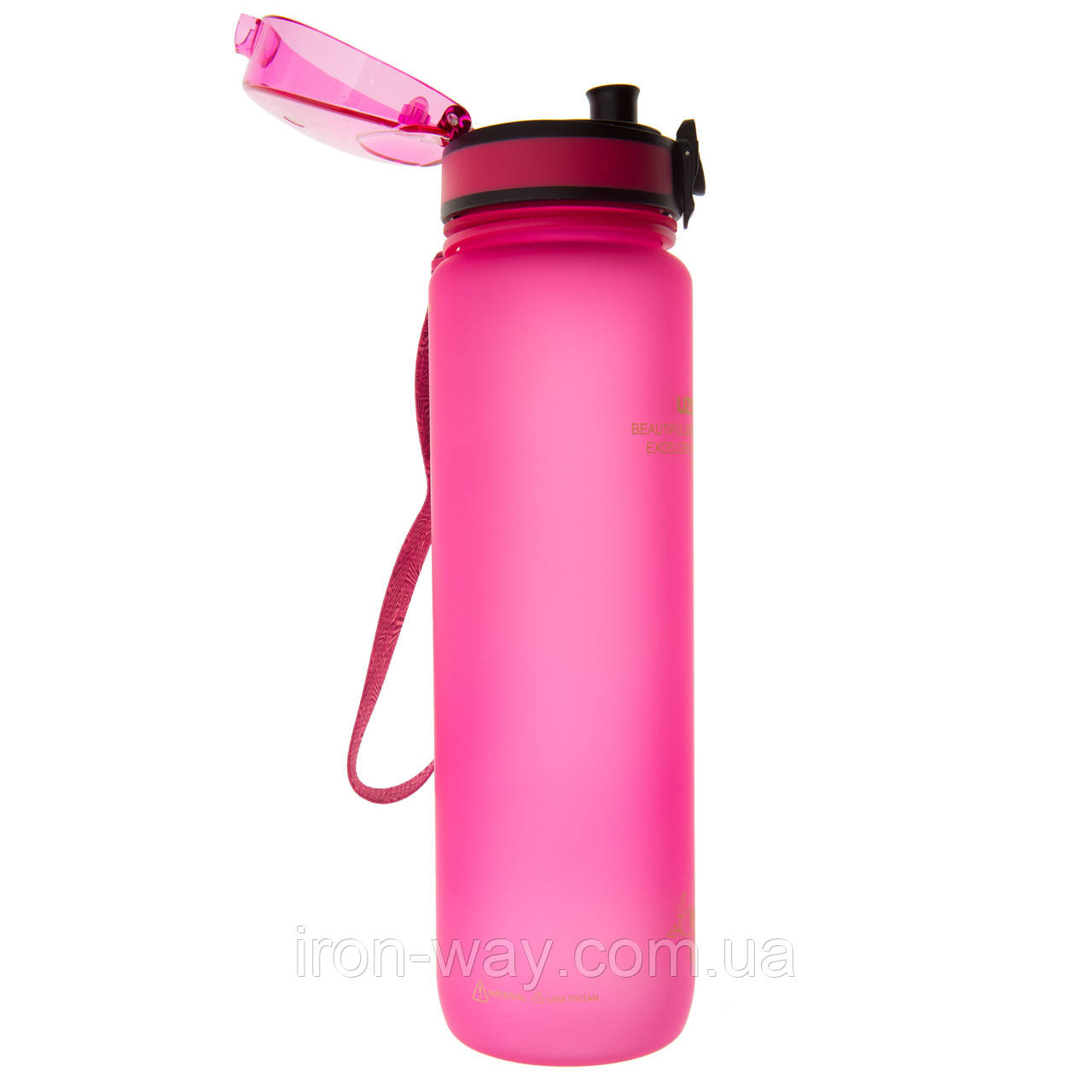 Бутылка для воды Uzspace Colorful Frosted-Tritan 1000 мл Розовый 3038