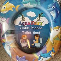 Накладка мягкая, вставка детская, сиденье для унитаза Украина Aqua Fairy Веселые акулы, фото 1