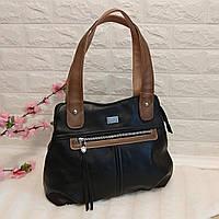 Женская сумка среднего размера с длинными ручками ( черная)