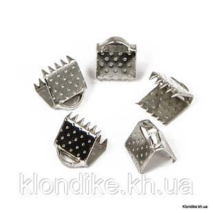 Концевики Зажимы для Лент, Железные, 6×7 мм, Цвет: Платина (50 шт.)