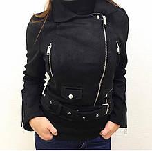 Весенняя женская черная куртка эко замш  2020