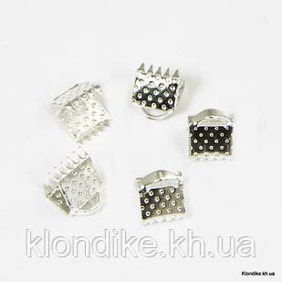 Концевики Зажимы для Лент, Железные, 6×7 мм, Цвет: Серебро (50 шт.)