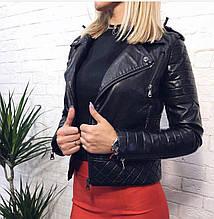 Весенняя черная женская куртока косуха с экокожи новинка 2020
