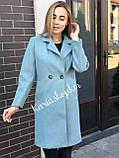 Весеннее осеннее женское бирюзовое кашемировое пальто, фото 2