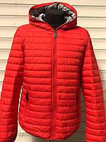 Куртка мужская красная весенняя осенняя с капюшоном