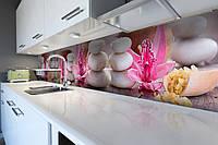 Кухонный фартук Круглые Камни (скинали для кухни наклейка ПВХ) цветы релакс Абстракция Розовый 600*2500 мм
