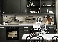 Кухонный фартук Старое Село (скинали для кухни наклейка ПВХ) соломенные крыши ретро винтаж Серый 600*2500 мм