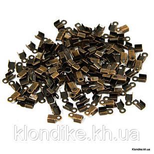 Концевики-Зажимы для Шнура, Железные, 6×3×2.3 мм, Цвет: Медь (200 шт.)