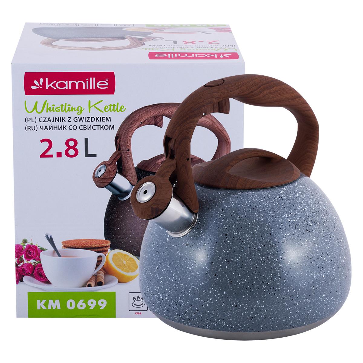 Чайник Kamille Сірий 2.8 л з нержавіючої сталі зі свистком і бакелітовою ручкою для індукції і газу KM-0699