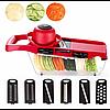 Овощерезка для овощей и фруктов Mandoline Slicer 6 in 1 c контейнером, слайсер , терка, фото 6