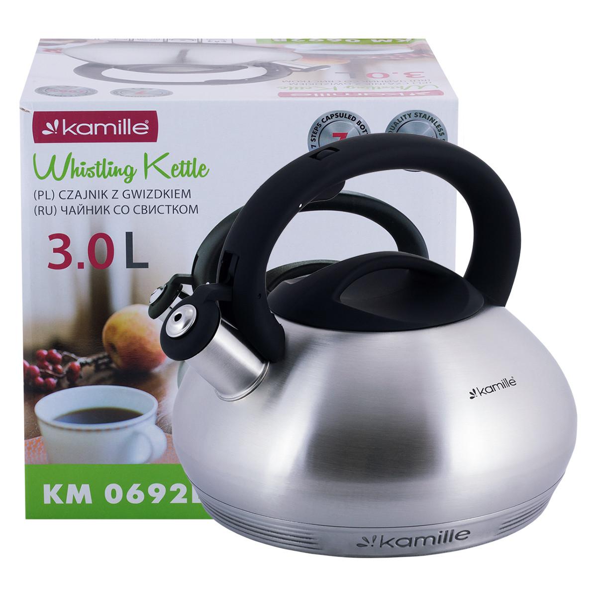 Чайник Kamille 3л из нержавеющей стали со свистком и черной бакелитовой ручкой для индукции и газа KM-0692B