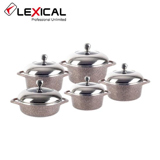 Набор кастрюль LEXICAL LG-141001-5 гранитное покрытие, 10 предметов 20/24/28/28/32 см, Golden