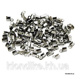Концевики-Зажимы для Шнура, Железные, 6×3×2.3 мм, Цвет: Платина (200 шт.)