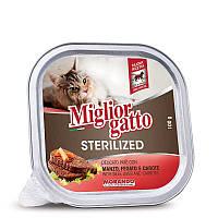 Влажный корм Morando (Морандо) MigliorGatto Sterilized для стерилизованных кошек паштет с говядиной, печенью и морковью, 100 г