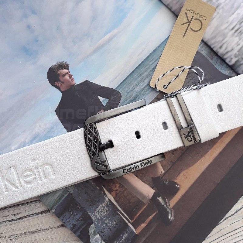 Мужской кожаный ремень Calvin Klein Белый AAA Copy