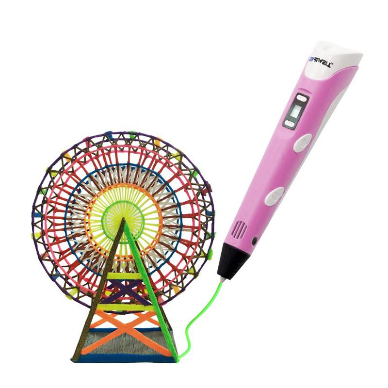 Детская 3D-ручка My Core MyRiwell RP-100B Pink с ABS PLA пластиком LCD экраном набором пластика нить 1.75mm