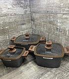 Набор кастрюль 20/24/28см LEXICAL LG-440601-2, антипригарное гранитное покрытие, 6 предметов,Choco, фото 3