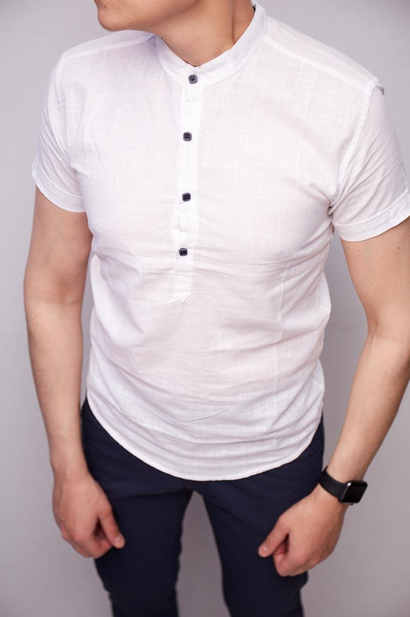 Рубашка короткий рукав стойка на короткой застежке Guspolo 16600-2 бел