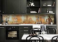Кухонный фартук Старый Свет (скинали наклейка ПВХ) Архитектура ретро пленка винтаж Бежевый 600*2500 мм