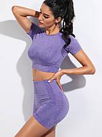 Женский костюм (комплект) для спорта, спортивная одежда для фитнеса (шорты, топ с рукавами), Фиолетовый