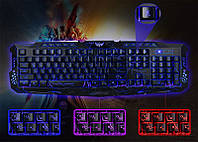 Компьютерная игровая клавиатура с 3-х цветной подсветкой M-200, клавиатура для игр, игровая клавиатура с